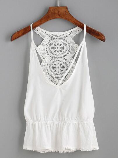 White Crochet Back Strappy Peplum Cami Top