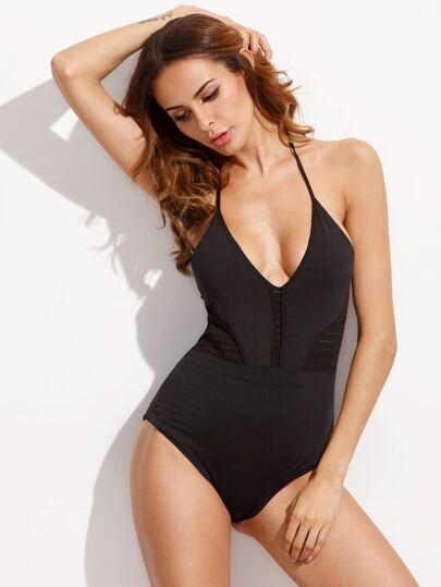 Black Deep V Neck Striped Mesh Panel One Piece Swimwear
