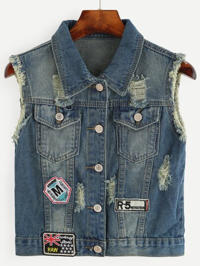 Blue Distressed Embroidered Patch Detail Denim Vest