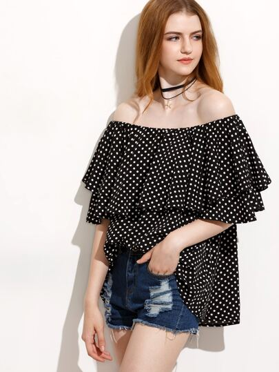 Black Polka Dot Ruffle Off The Shoulder Blouse