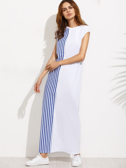Colorblock Striped Cap Sleeve Shift Maxi Dress