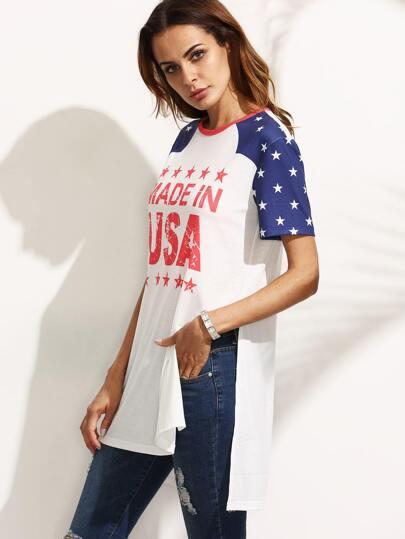 Multicolor Letters Star Print Short Sleeve Split T-shirt