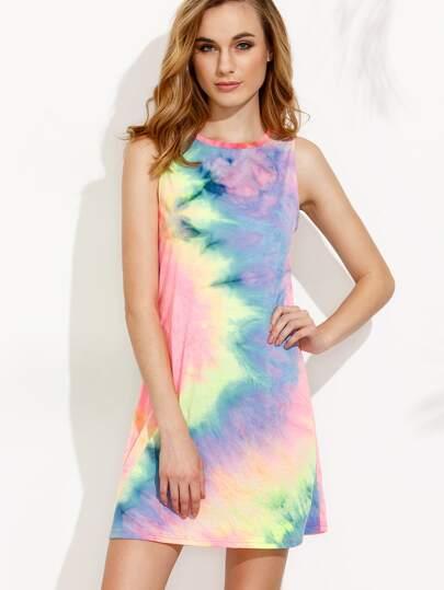 Multicolor Print Crew Neck Sleeveless Shift Dress