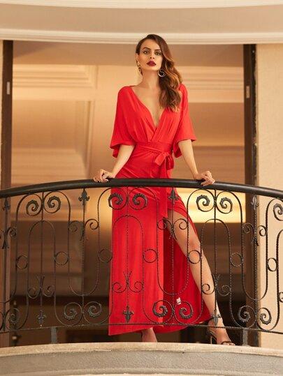 Red V Neck Tie Waist Split Maxi Dress
