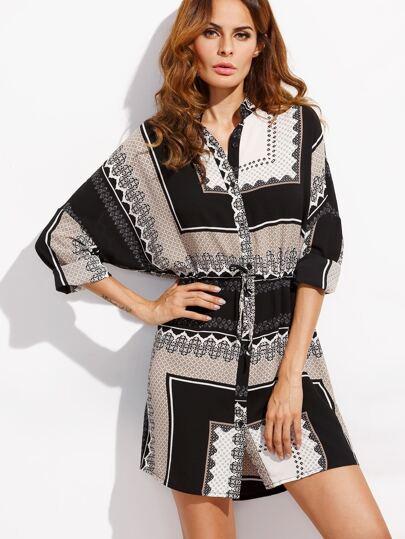 Multicolor Tribal Print Drawstring Waist Shirt Dress