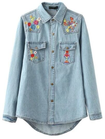 Blue Embroidery High Low Button Denim Blouse