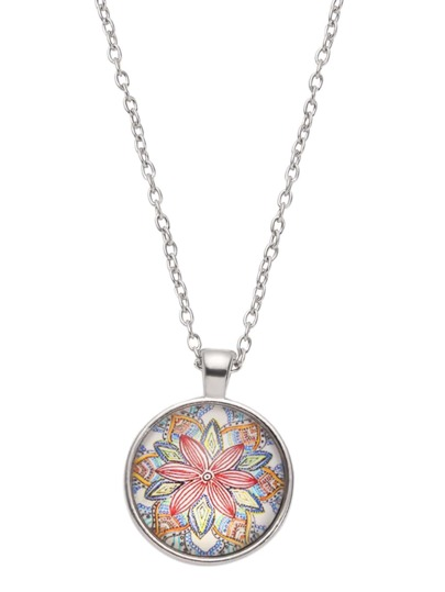 Silver Flower Print Glass Pendant Necklace