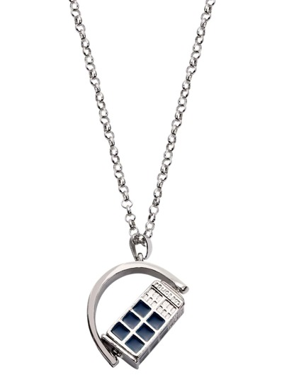Silver Movable Enamel Telephone Booth Pendant Necklace