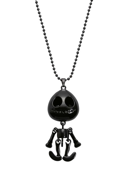 Black Movable Skeleton Doll Pendant Necklace