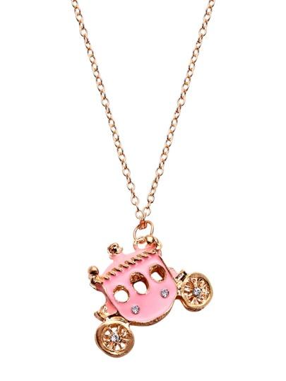 Gold Rhinestone Enamel Carriage Charm Necklace