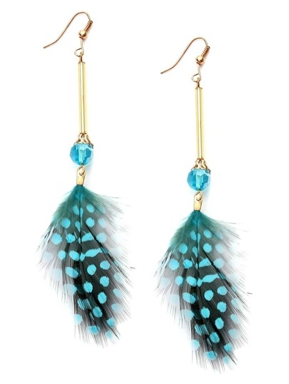 Green Polka Dot Feather Drop Earrings