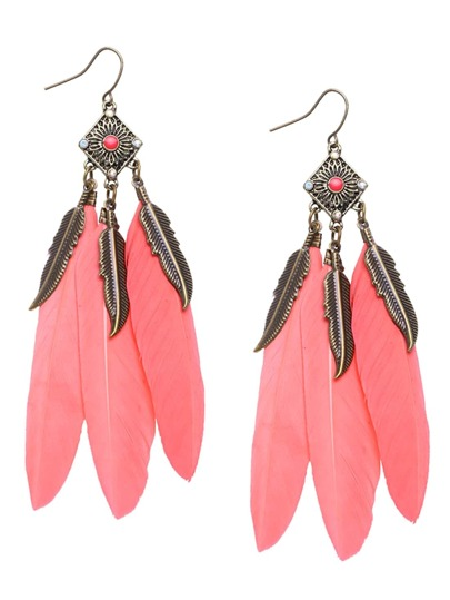 Pink Feather Drop Earrings
