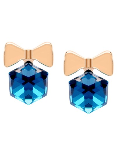 Blue Faux Gem Bow Studs