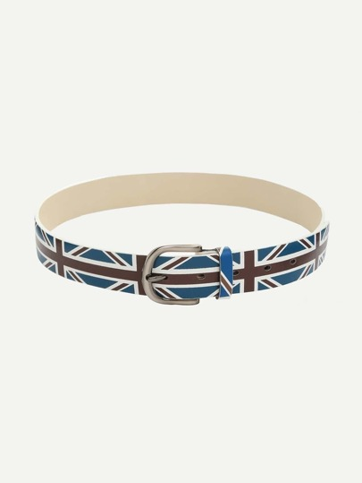 Navy Union Jack Print Buckle Belt