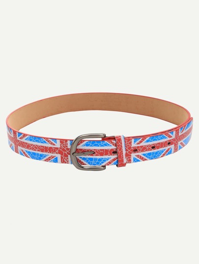 Blue Union Jack Print Crackle Effect Buckle Belt