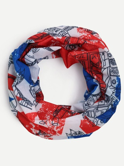 Multicolor Union Jack Print Infinity Scarf
