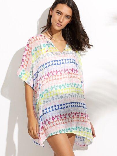 Geometric Print Lace Up Beach Dress