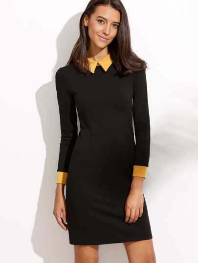 Black Contrast Collar Sheath Dress