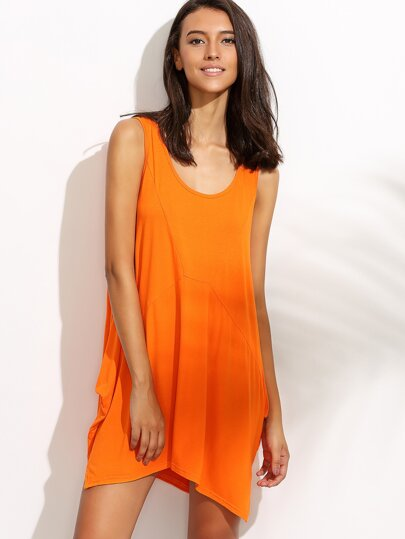 Orange Asymmetrical Tank Dress