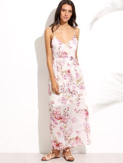 Florals Backless Beach Dress