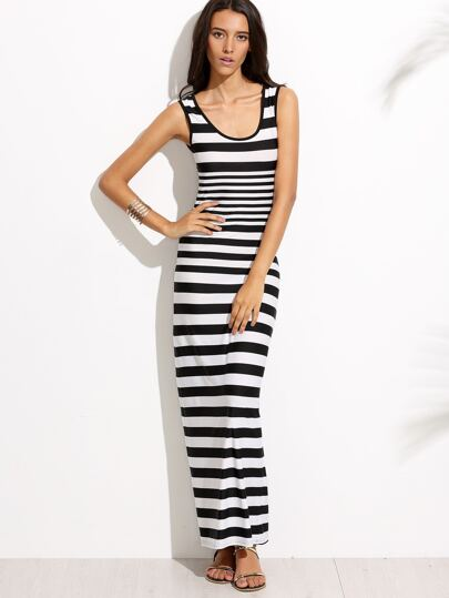 Black And White Scoop Neck Striped Dress