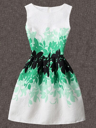 Leaves Print Jacquard A-Line Dress