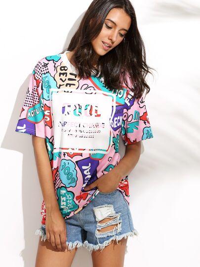 T-shirt lungo girocollo stampa lettere colorata