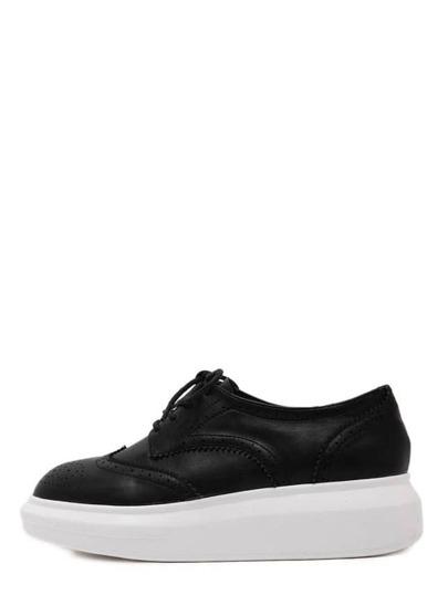 Keilabsätzen Runde Zehen mit Schnürband - schwarz