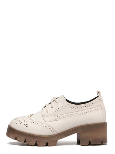 Beige Round Toe Lace-up Brogue Platform Chunky Pumps