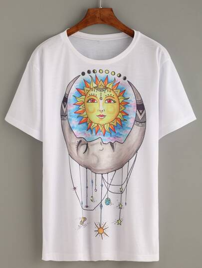 White Sun Moon Tribal Print Long T-shirt