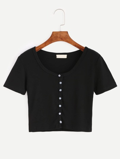 Black Button Front Crop T-shirt