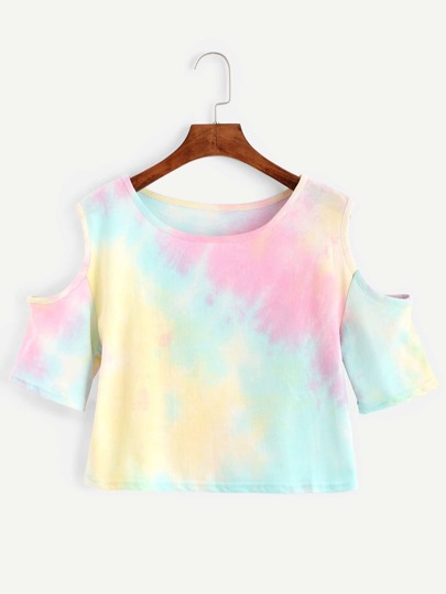 Multicolor Pastel Tie Dye Open Shoulder T-shirt