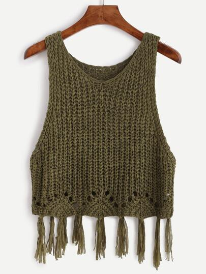 Olive Green Fringe Trim Hollow Out Knit Top