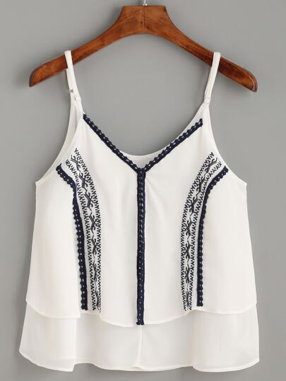 White Dotted Crochet Trim Embroidered Cami Top