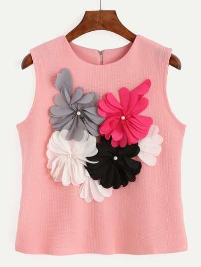 Pink Flower Applique Textured Top
