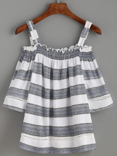 White Striped Smocked Cold Shoulder Top