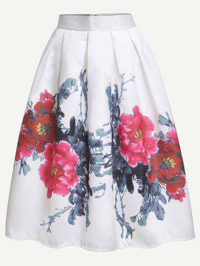 White Flower Print Box Pleated Skirt