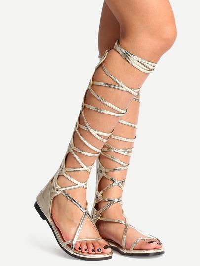 Sandalias punta abierta estilo gladiador cremallera - dorado
