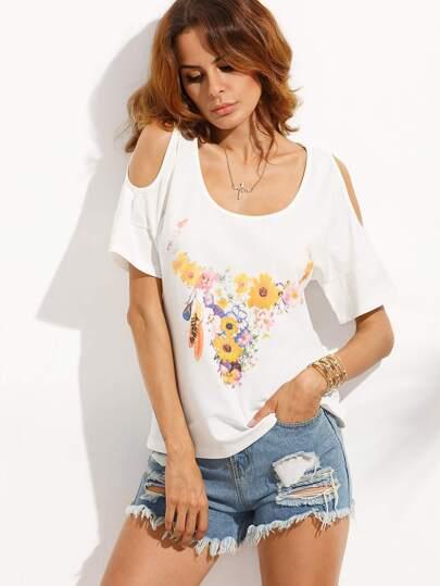 White Floral Scoop Neck Cold Shoulder T-shirt