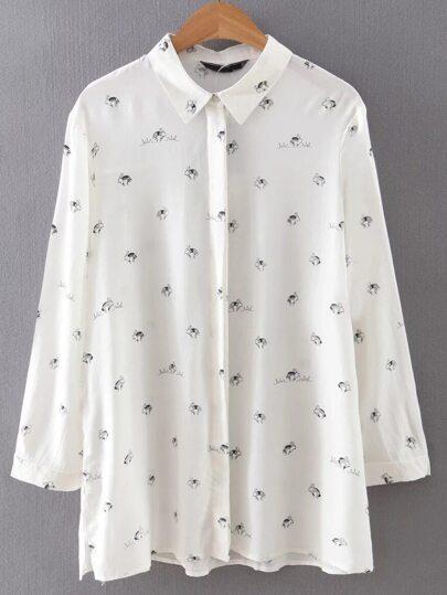 White Lapel Buttons Rabbit Print Blouse