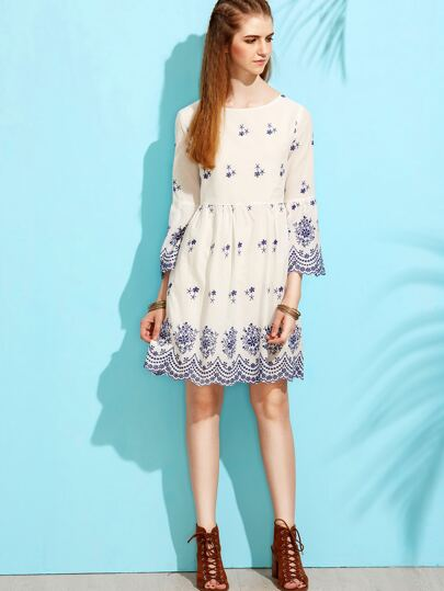 White Ruffle Sleeve Floral A-Line Dress