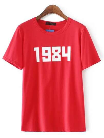 Camiseta escote redondo número - rojo