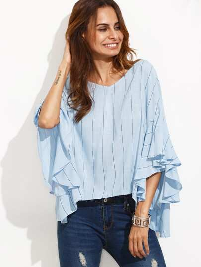 Blue Striped Tie V Back Ruffle Sleeve Blouse