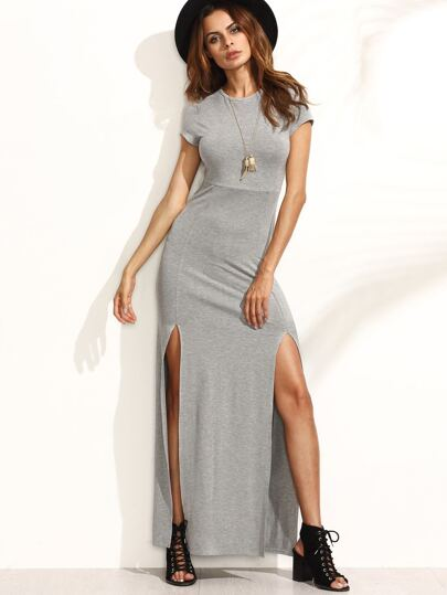 Grey Short Sleeve Split Maxi Dress
