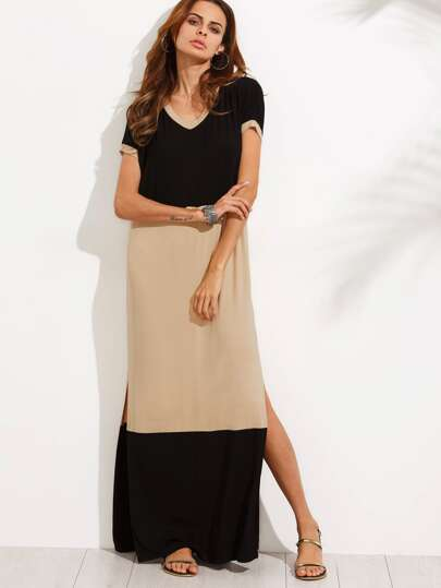 Colorblock V Neck Short Sleeve Split Side Maxi Dress