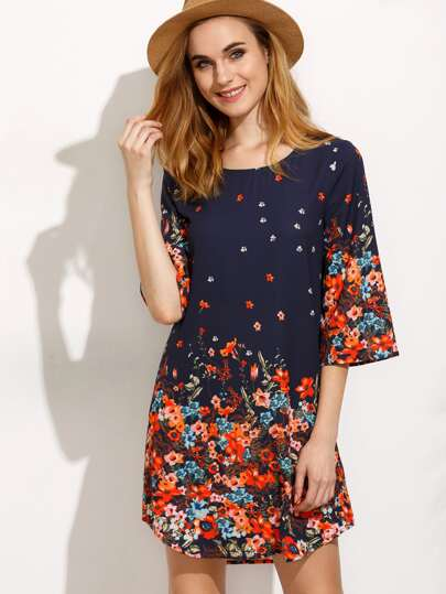 Multicolor Floral Three Quarter Sleeve Shift Dress