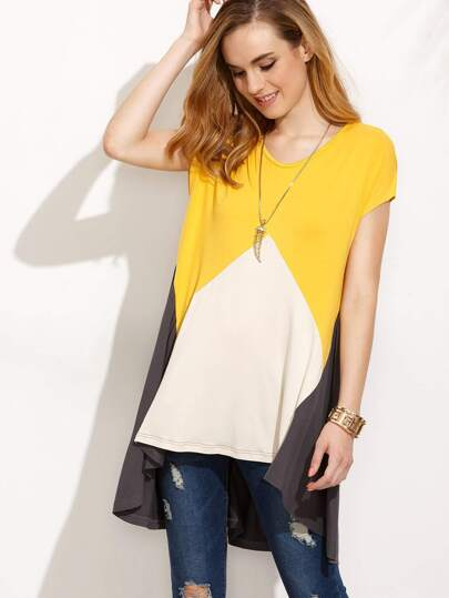 Colorblock Short Sleeve Asymmetrical T-shirt