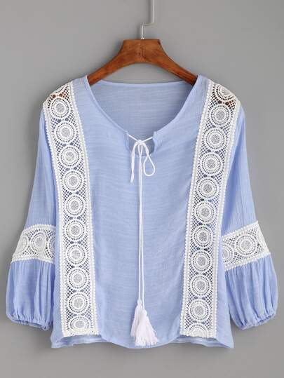 Blue Crochet Insert Tassel Tie Neck Blouse