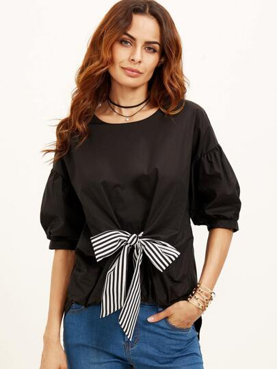 Black Puff Sleeve Striped Tie Front High Low Blouse