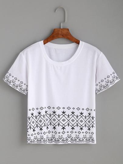White Tribal Print Crop T-shirt